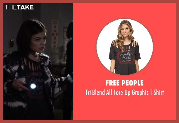 Free People black t-shirt from Pretty Little Liars seen with Aria Montgomery (Lucy Hale)
