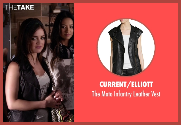 Current/Elliott black vest from Pretty Little Liars seen with Aria Montgomery (Lucy Hale)
