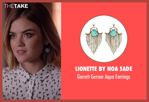 Lionette By Noa Sade  blue earrings from Pretty Little Liars seen with Aria Montgomery (Lucy Hale)