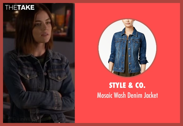 Style & Co. blue jacket from Pretty Little Liars seen with Aria Montgomery (Lucy Hale)