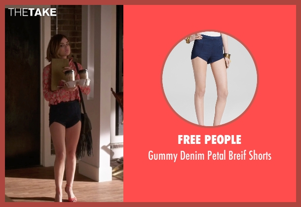 Free People blue shorts from Pretty Little Liars seen with Aria Montgomery (Lucy Hale)