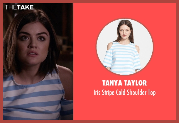Tanya Taylor blue top from Pretty Little Liars seen with Aria Montgomery (Lucy Hale)