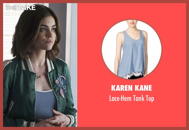 Karen Kane blue top from Pretty Little Liars seen with Aria Montgomery (Lucy Hale)