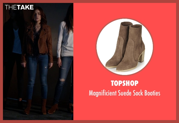 Topshop brown booties from Pretty Little Liars seen with Aria Montgomery (Lucy Hale)