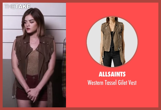 AllSaints brown vest from Pretty Little Liars seen with Aria Montgomery (Lucy Hale)