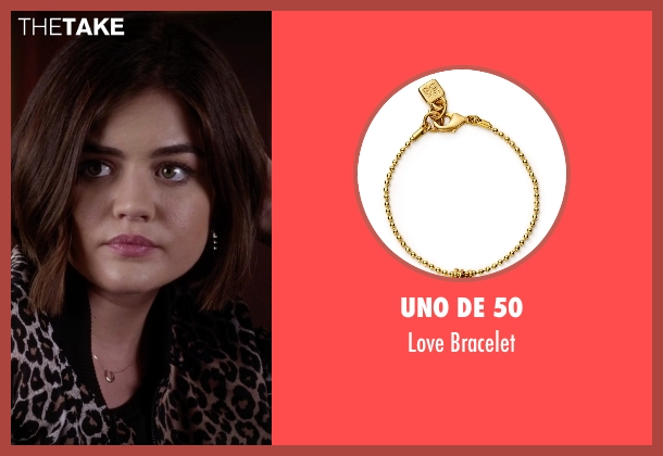 Uno De 50 gold bracelet from Pretty Little Liars seen with Aria Montgomery (Lucy Hale)