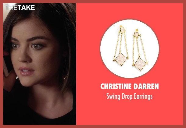 Christine Darren gold earrings from Pretty Little Liars seen with Aria Montgomery (Lucy Hale)
