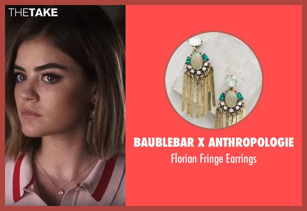 BaubleBar x Anthropologie gold earrings from Pretty Little Liars seen with Aria Montgomery (Lucy Hale)