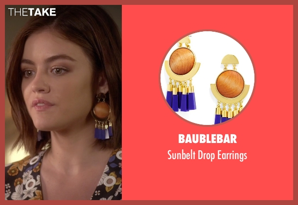 Baublebar gold earrings from Pretty Little Liars seen with Aria Montgomery (Lucy Hale)