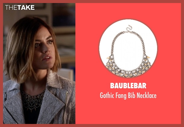 BaubleBar gold necklace from Pretty Little Liars seen with Aria Montgomery (Lucy Hale)