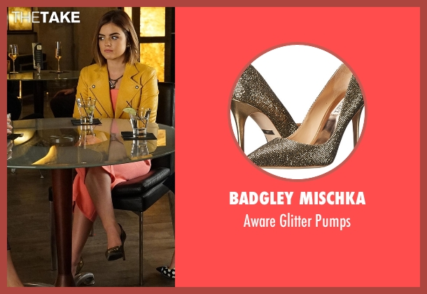 Badgley Mischka gold pumps from Pretty Little Liars seen with Aria Montgomery (Lucy Hale)