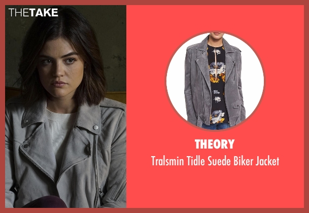 Theory gray jacket from Pretty Little Liars seen with Aria Montgomery (Lucy Hale)