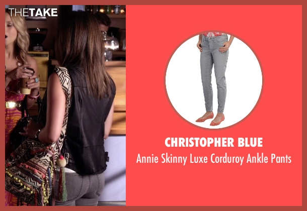 Christopher Blue gray pants from Pretty Little Liars seen with Aria Montgomery (Lucy Hale)