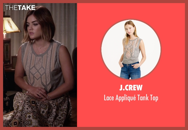 J.Crew gray top from Pretty Little Liars seen with Aria Montgomery (Lucy Hale)