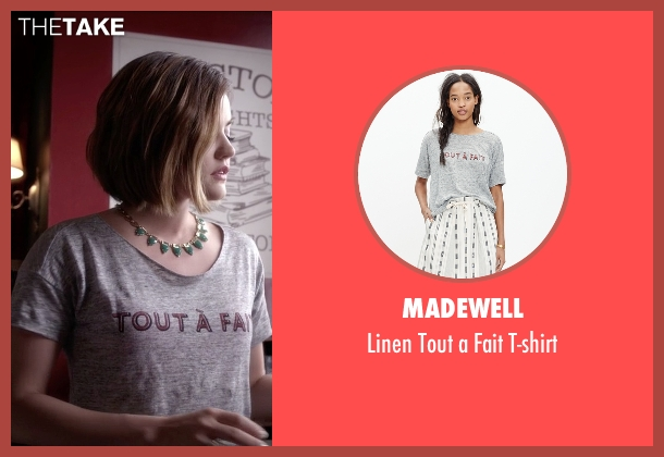 Madewell gray t-shirt from Pretty Little Liars seen with Aria Montgomery (Lucy Hale)