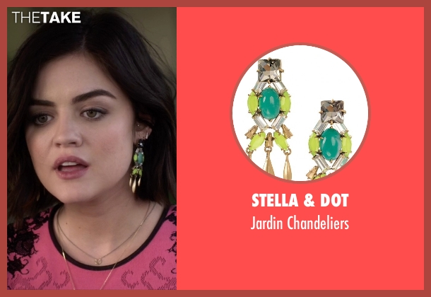 Stella & Dot green chandeliers from Pretty Little Liars seen with Aria Montgomery (Lucy Hale)
