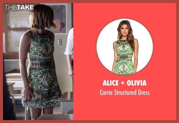 Alice + Olivia green dress from Pretty Little Liars seen with Aria Montgomery (Lucy Hale)