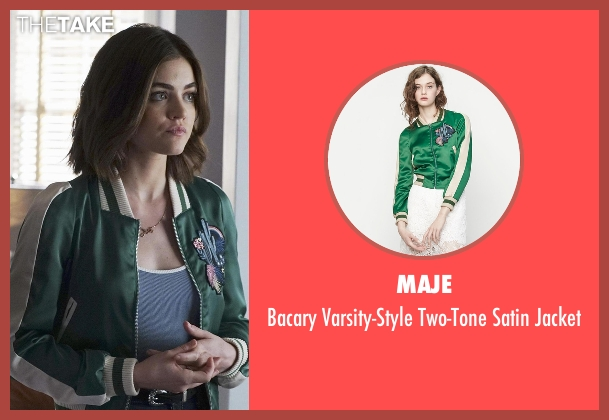 Maje green jacket from Pretty Little Liars seen with Aria Montgomery (Lucy Hale)