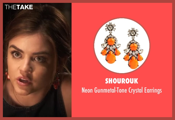 Shourouk  orange earrings from Pretty Little Liars seen with Aria Montgomery (Lucy Hale)