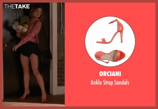 Orciani orange sandals from Pretty Little Liars seen with Aria Montgomery (Lucy Hale)