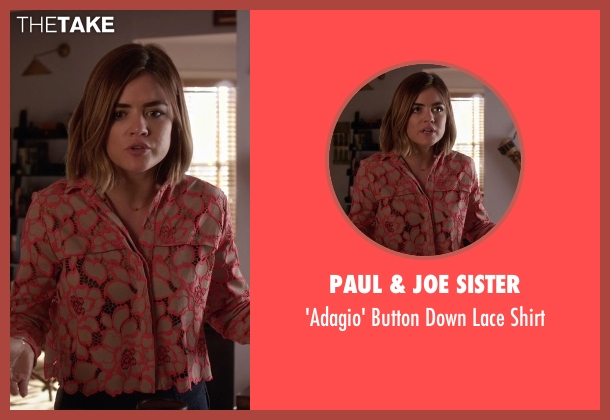 Paul & Joe Sister orange shirt from Pretty Little Liars seen with Aria Montgomery (Lucy Hale)