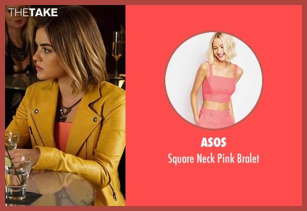 ASOS pink bralet from Pretty Little Liars seen with Aria Montgomery (Lucy Hale)