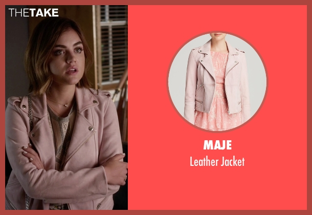 Maje pink jacket from Pretty Little Liars seen with Aria Montgomery (Lucy Hale)