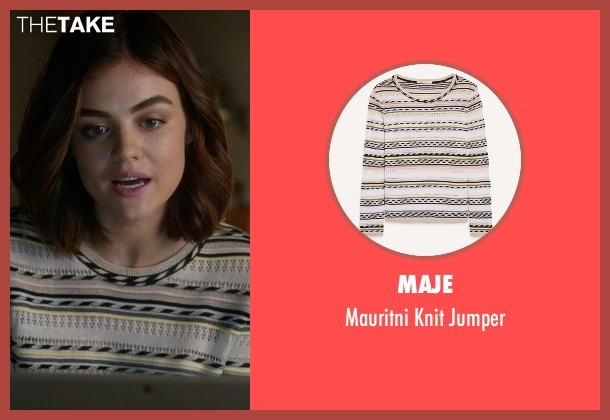 Maje pink jumper from Pretty Little Liars seen with Aria Montgomery (Lucy Hale)