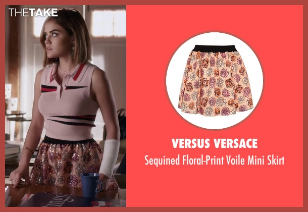 Versus Versace pink skirt from Pretty Little Liars seen with Aria Montgomery (Lucy Hale)