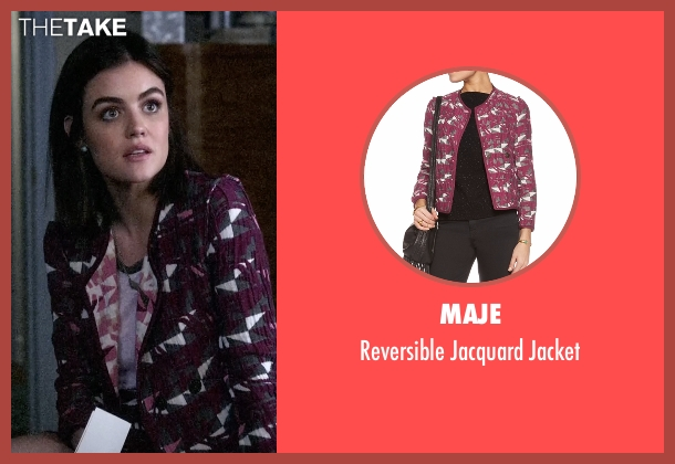 Maje purple jacket from Pretty Little Liars seen with Aria Montgomery (Lucy Hale)