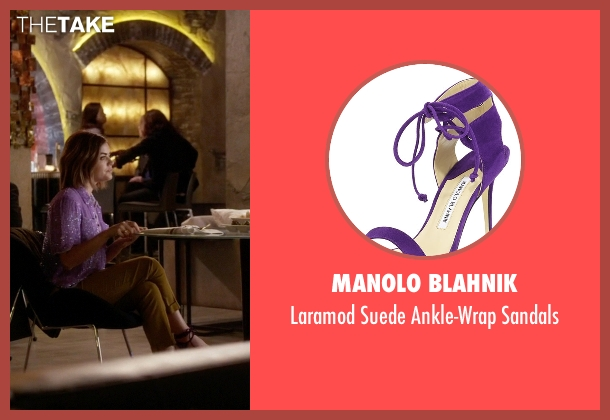 Manolo Blahnik purple sandals from Pretty Little Liars seen with Aria Montgomery (Lucy Hale)