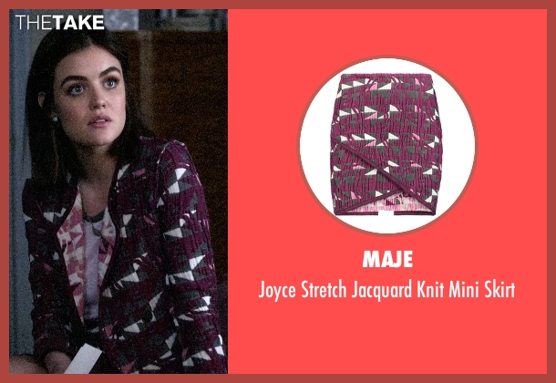 Maje purple skirt from Pretty Little Liars seen with Aria Montgomery (Lucy Hale)