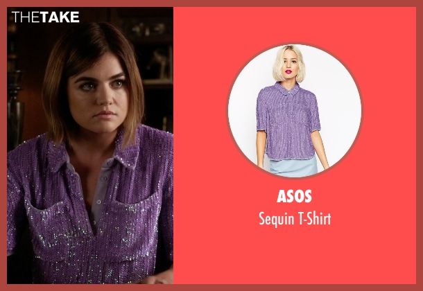 Asos purple t-shirt from Pretty Little Liars seen with Aria Montgomery (Lucy Hale)