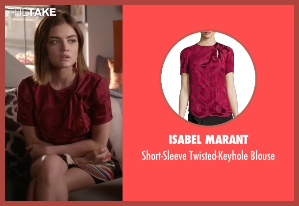 Isabel Marant red blouse from Pretty Little Liars seen with Aria Montgomery (Lucy Hale)