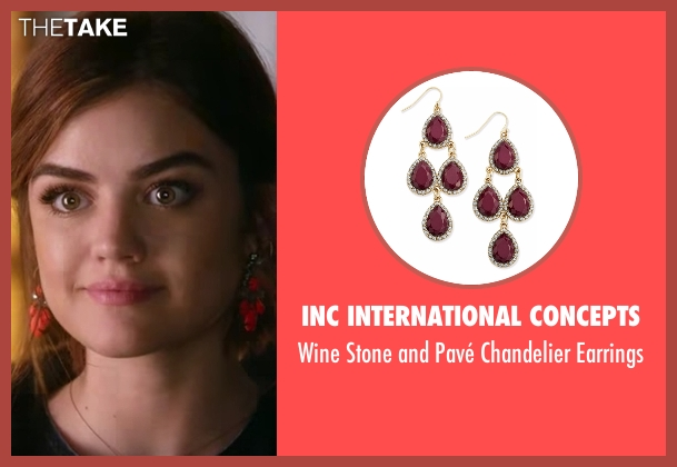 INC International Concepts red earrings from Pretty Little Liars seen with Aria Montgomery (Lucy Hale)