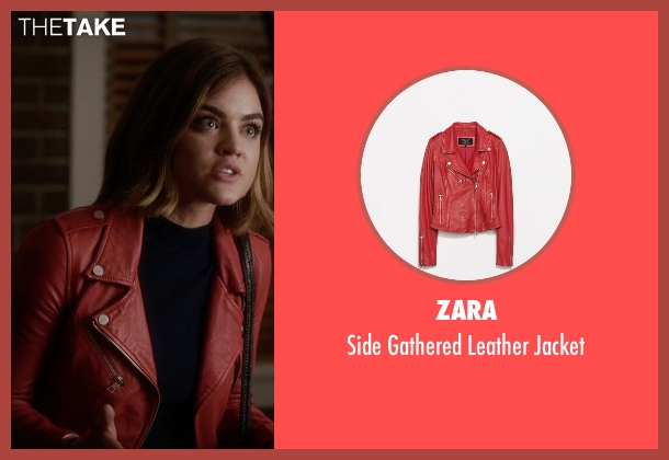 Zara red jacket from Pretty Little Liars seen with Aria Montgomery (Lucy Hale)