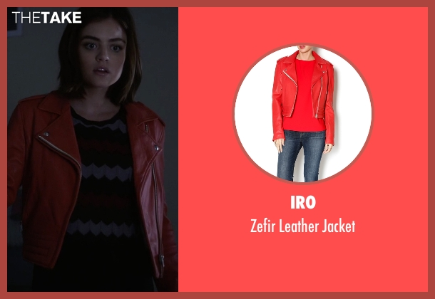 IRO red jacket from Pretty Little Liars seen with Aria Montgomery (Lucy Hale)