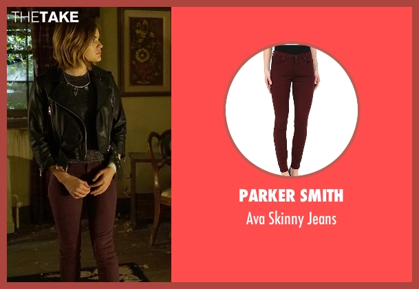 Parker Smith red jeans from Pretty Little Liars seen with Aria Montgomery (Lucy Hale)