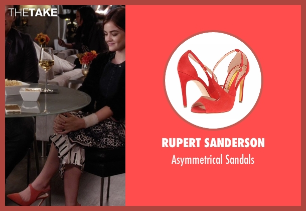 Rupert Sanderson red sandals from Pretty Little Liars seen with Aria Montgomery (Lucy Hale)