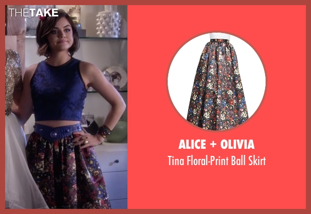 Alice + Olivia red skirt from Pretty Little Liars seen with Aria Montgomery (Lucy Hale)