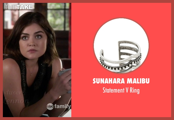 Sunahara Malibu silver ring from Pretty Little Liars seen with Aria Montgomery (Lucy Hale)