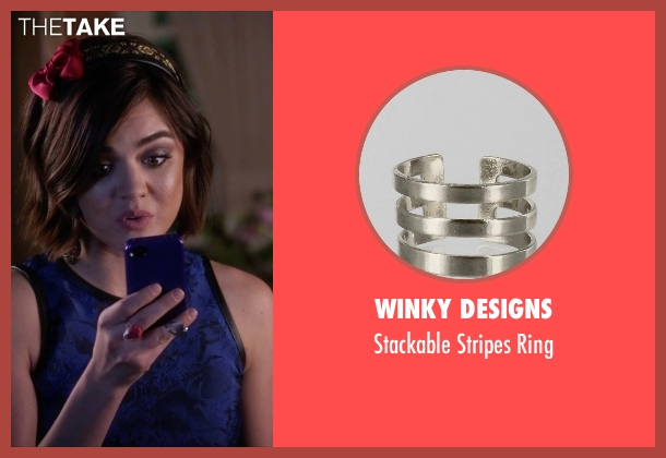 Winky Designs silver ring from Pretty Little Liars seen with Aria Montgomery (Lucy Hale)
