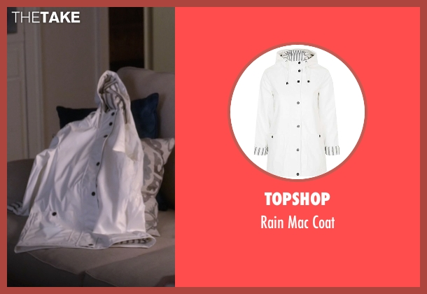 Topshop white coat from Pretty Little Liars seen with Aria Montgomery (Lucy Hale)