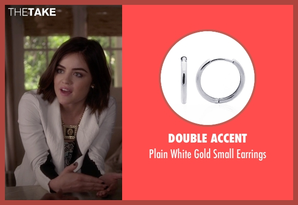 Double Accent white earrings from Pretty Little Liars seen with Aria Montgomery (Lucy Hale)