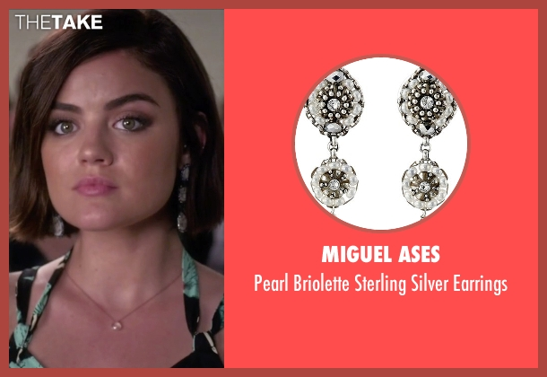 Miguel Ases white earrings from Pretty Little Liars seen with Aria Montgomery (Lucy Hale)