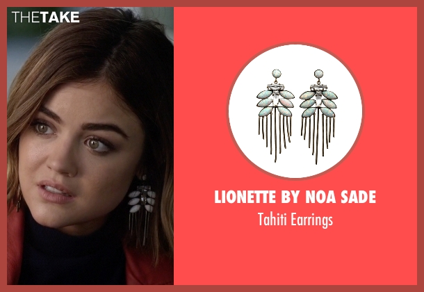 Lionette By Noa Sade white earrings from Pretty Little Liars seen with Aria Montgomery (Lucy Hale)