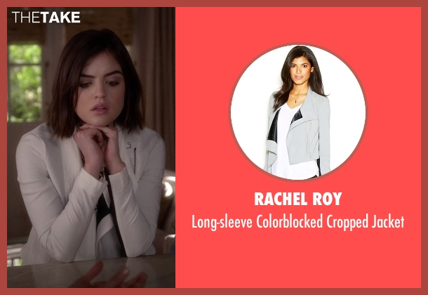 Rachel Roy white jacket from Pretty Little Liars seen with Aria Montgomery (Lucy Hale)