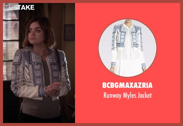 BCBGMAXAZRIA white jacket from Pretty Little Liars seen with Aria Montgomery (Lucy Hale)