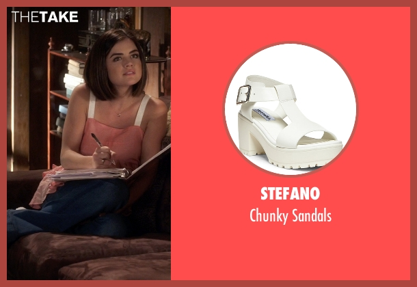 Stefano white sandals from Pretty Little Liars seen with Aria Montgomery (Lucy Hale)