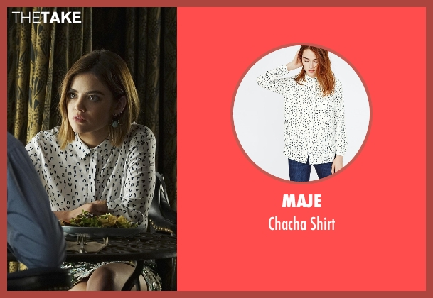 Maje white shirt from Pretty Little Liars seen with Aria Montgomery (Lucy Hale)